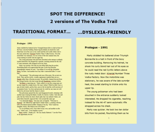 The Vodka Trail - Page 1 in traditional and dyslexia-friendly formats